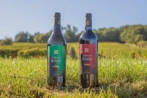Photo de deux bouteilles de vin du château Le Rauly